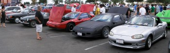 Mercedes, Fiero , Miata mix, at the informal C&C Show @ Panera's, San Antonio, TX - 25-JUN-2011