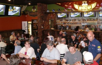 The Austin F1 Club, Montreal GP watching party, in Wingzup - their bar with multiple screens, in Austin, TX
