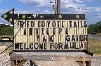 Welcome Formula 1 sign outside Wild Bubba's Grill!