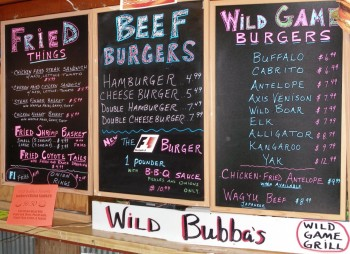 Wild Bubba's extensive Wild Game Grill menu - What a WILD variety - YUM!