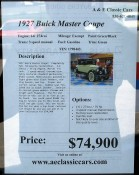 1927 Buick - ready for your purchase, at A&E Classic Cars