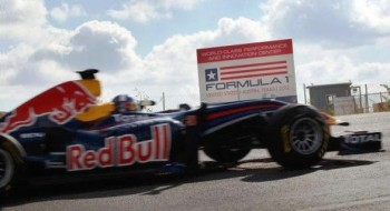 David Coulthard, arriving at the Circuit of The Americas, in the Red Bull Racing Formula 1 Show Car!