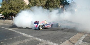 David Coulthard doing expensive donuts in the Red Bull Racing Formula 1 Show Car - Photo taken by John Etkins
