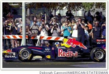 David Coulthard launches his Red Bull Formula 1 Race Car in the city streets of Austin, Texas - Photo by Deborah Cannon, American-Statesman