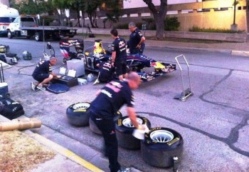 The Red Bull Racing Show Car crew, getting organized early Saturday morning, 20-AUG-2011 - Photo by Sondra Sondregger