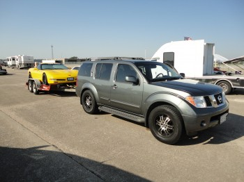 2011 scca solo nats day2 - 9  |  Rhino towing Sunshine on the rented U-Haul trailer...