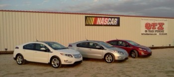The 3 Chevy Volts parked outside OTX, at Thunderhill Raceway, Kyle, TX