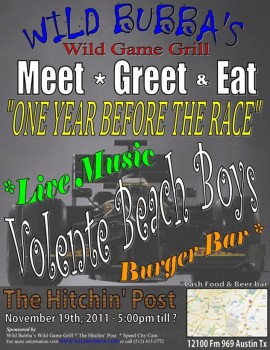 Wild Bubba's Wild Game Grill - Meet, Greet and Eat - 'One Year Before The Race'