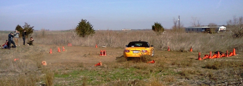 Jon Etkins smoothly swinging his 'Bus 4 2' Miata, at the Texas RallySport event at BCR