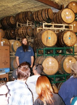 Josh, sharing the barrel room fermenting passion at Jester King Brewery - Tejas Miatas run - 25-FEB-2012