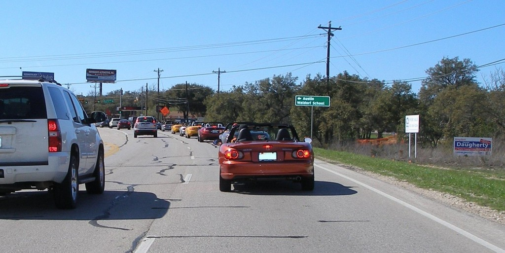 Part of the Tejas Miatas run group, enroute to Jester King Brewery - 25-FEB-2012