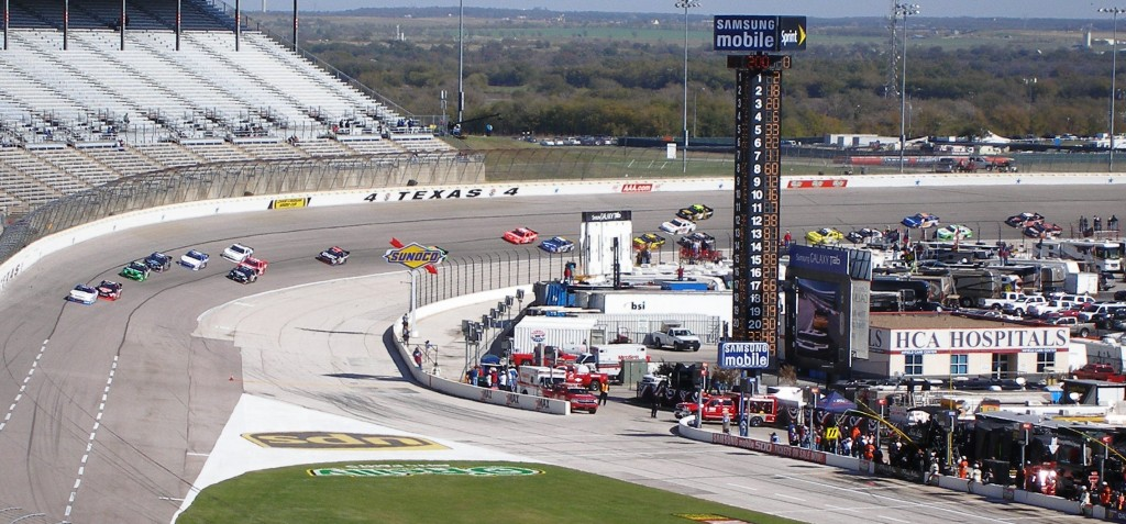 See the moving stance of the NASCAR racers at speed - it's a very slight, but steady controlled drift, at Texas Motor Speedway - November 2011