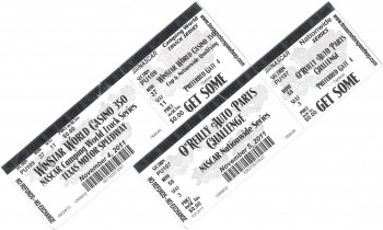 My Texas Motor Speedway NASCAR Races tickets - Thank you Chevy/GM!