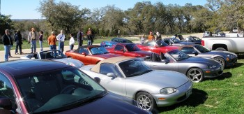 Tejas Miatas run parking, at Jester King Brewery - 25-FEB-2012