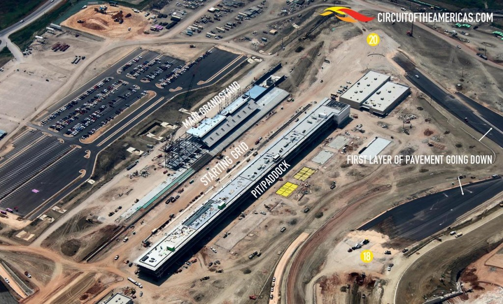 Aerial view of CoTA front straight area construction progress (mid May 2012)