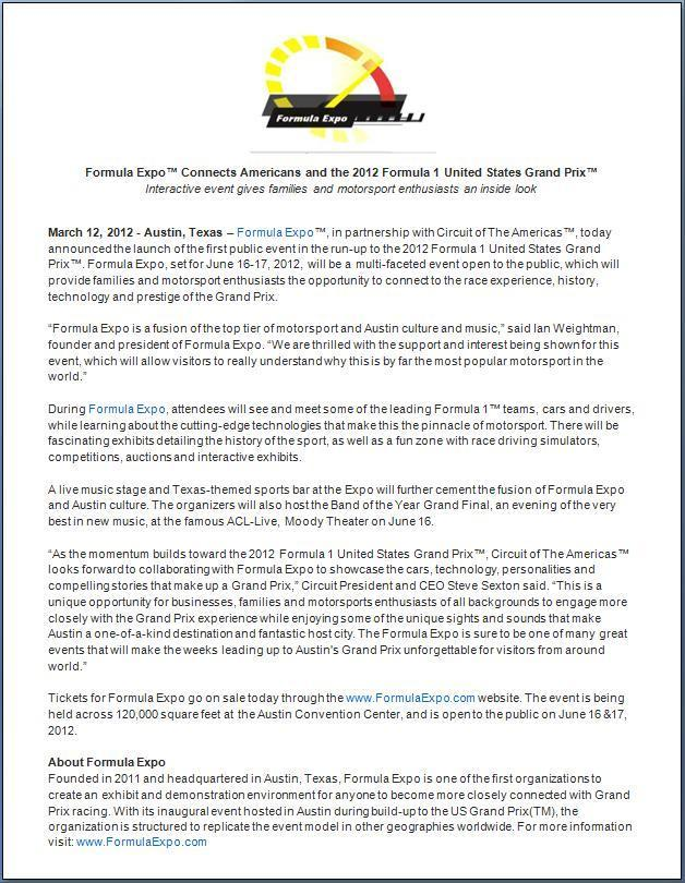 Formula Expo - Descriptive Press Release