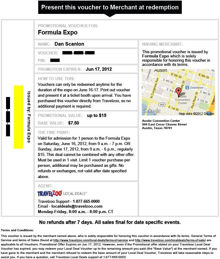 Formula Expo half-price voucher (made not useable)