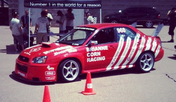 Brianne Corn's 2005 Subaru Sti - waiting for scrutineering, in preparation for the Pikes Peak Int'l Hill Climb