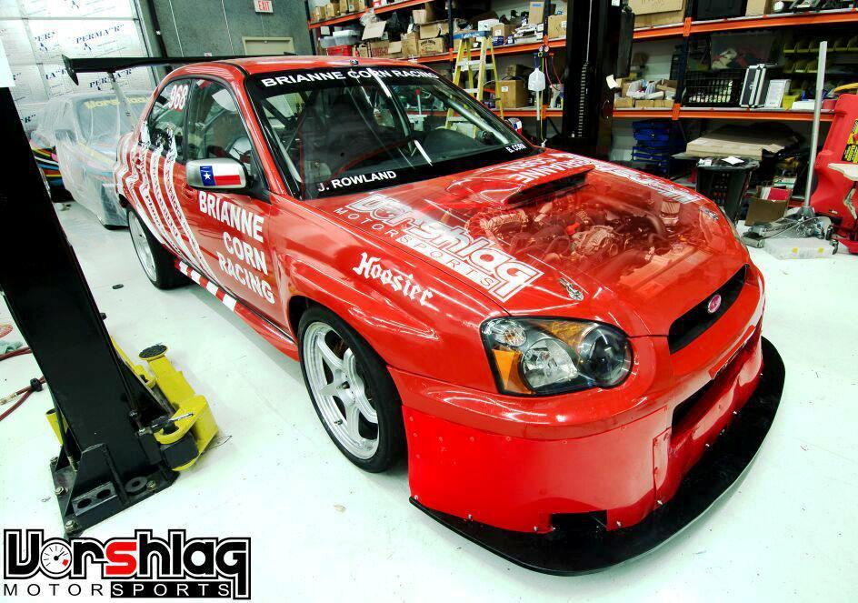 Brianne Corn's 2005 Subaru Sti with 'ghosted' engine thru hood shot, at Vorshlag Motorsports