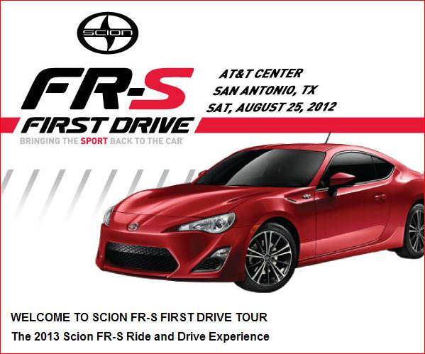 Scion FR-S First Drive Tour poster - Sam Antonio, Texas on August 25, 2012