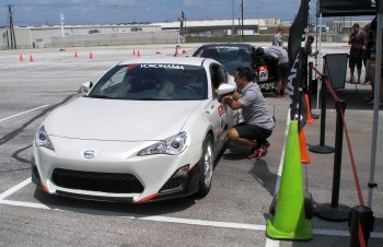 Scion FR-S First Drive event - Jackie Ling, Program Director, preparing driver to go out on course