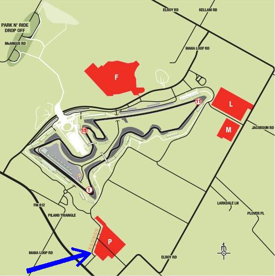 CoTA onsite parking lots - note blue arrow pointing to Lot P