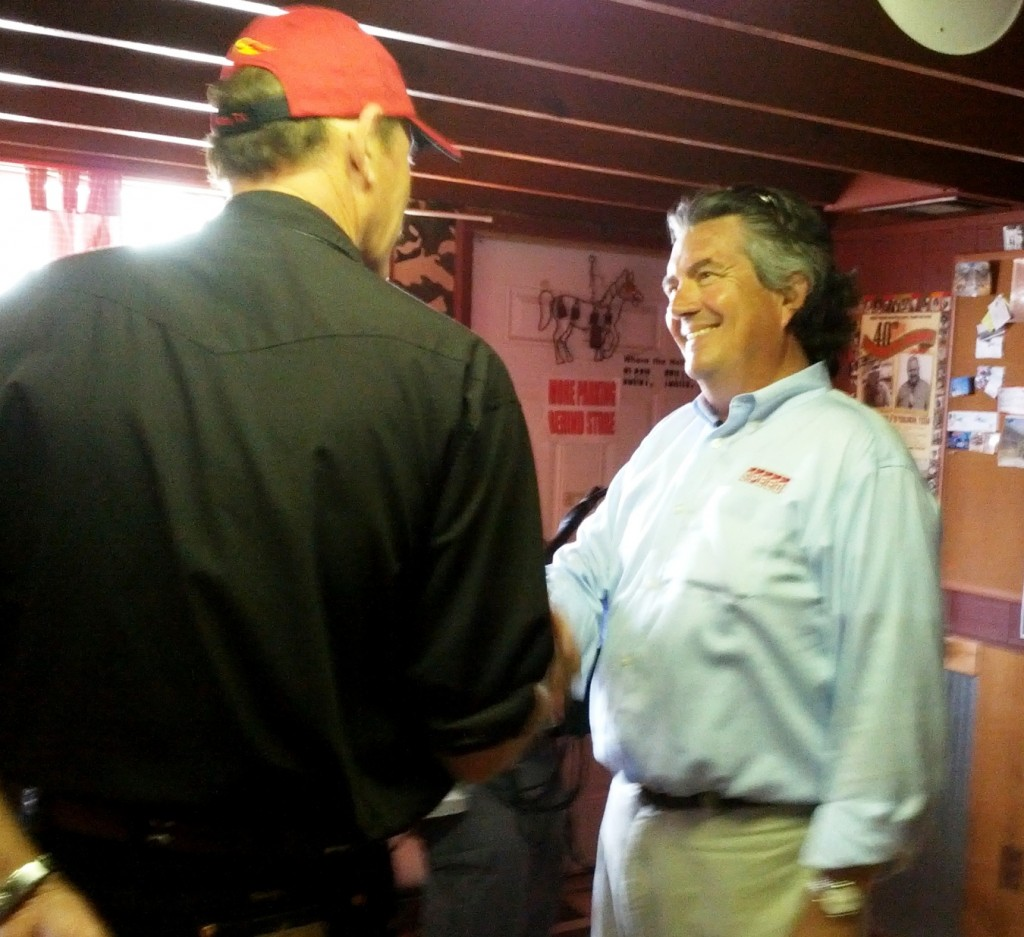 Wild Bubba welcoming Bob Varsha of SPEED to WB's Wild Game Grill - Octoberfest 2012!