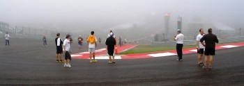 2012 Formula Run at CoTA, the 5K runners were SO amazed, they had to stop & gawk at the wonder of Turn 1...!