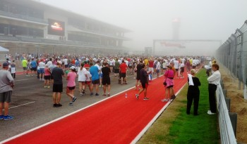On the CoTA front straight (can't see Turn 1), at the foggy start of the 2012 Formula Run