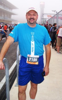 Racing Ready Dan at 2012 Formula Run at CoTA, just prior to the start! (Courtesy of Susan Street)