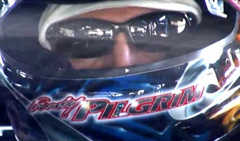Andy Pilgrim on the job in 'his office' at speed, Cadillac racer #8, Pirelli World Challenge Series
