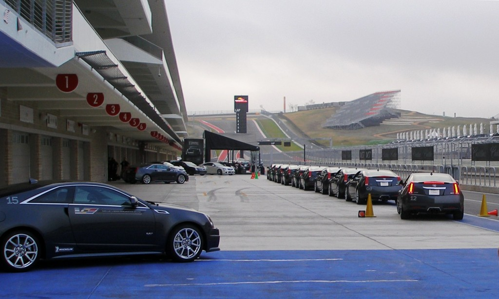 Cadillac CTS-V Coupes getting lined up for our 1st laps at speed on the CoTA track - at V-Series Lab, December 2012