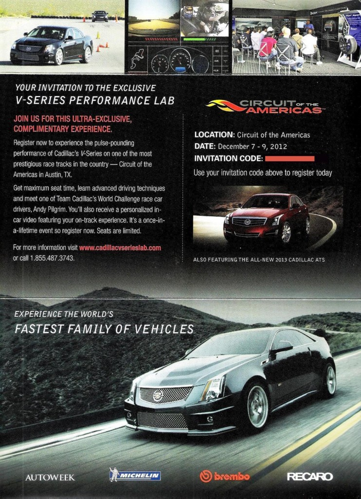 Cadillac V-Series Performance Lab flyer