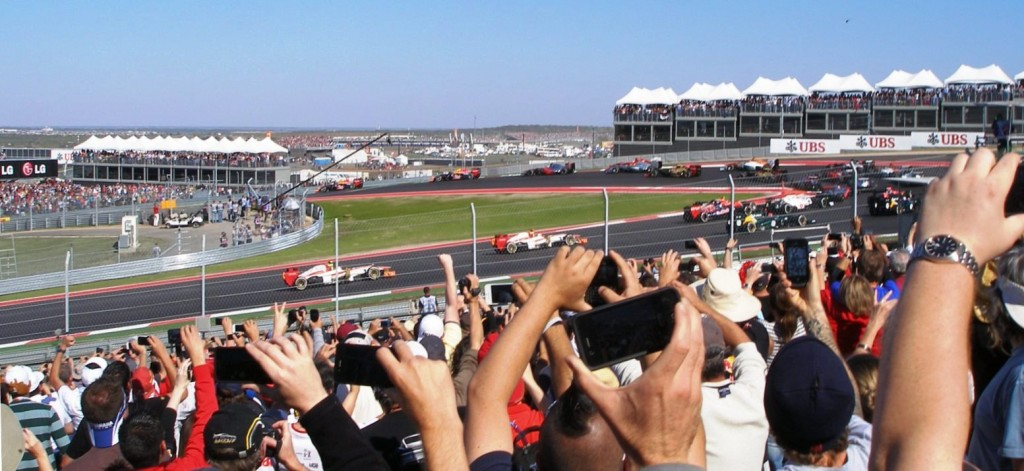 First time into turn 1 at CoTA, 2012 Formula 1 United States Grand Prix - they all made it through without incident!