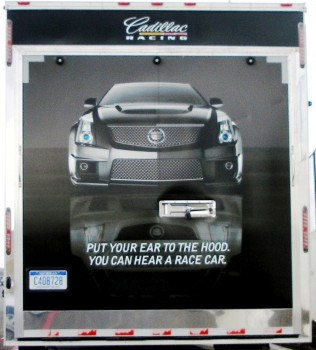 Rear door of Cadillac CTS-V Racing transporter, at CoTA - December 2012
