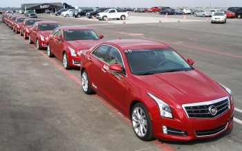 Very long line of ATS Cadillacs at V-Lab Series, CoTA - December 2012