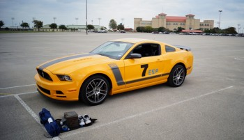 Boss 302 Mustang in school bus yellow