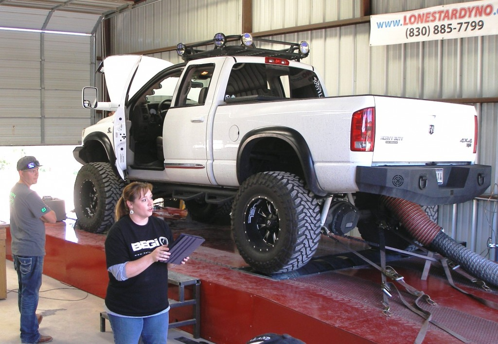 Big RAM 4x4 truck on the dyno - it just fits!