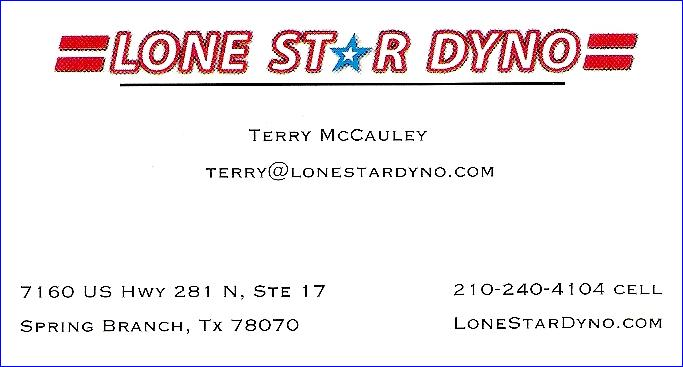 Lone Star Dyno, Terry McCauley's business card