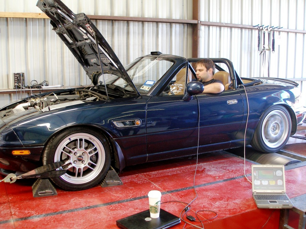 Terry McCauley of Lone Star Dyno, controling the Miata named CHOUKI