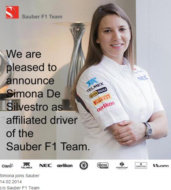 Simona Joins Sauber in Formula 1